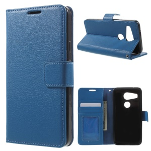 Lychee Wallet Leather Shell for LG Nexus 5X with Stand - Blue