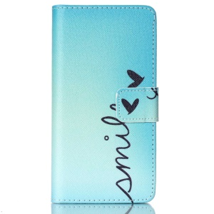 Leather Flip Stand Cover for LG Spirit H440Y H422 H440N H420 - Word Smile and Butterfly