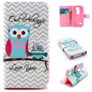 Wallet Leather Cover for LG Leon H320 / Leon 4G LTE H340N - Owls and Chevron