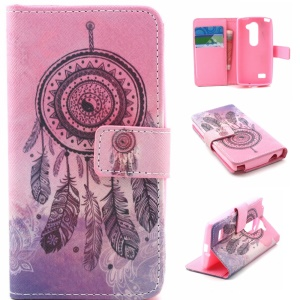 Wallet Leather Case for LG Leon H320 / Leon 4G LTE H340N - Dream Catcher Feather
