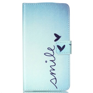 Flip Stand Leather Wallet Cover for LG G3 - Word Smile and Butterfly
