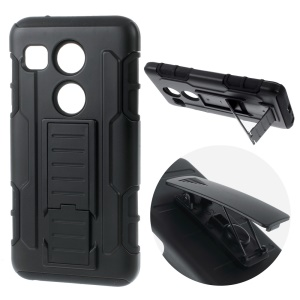 For LG Nexus 5X Belt Clip Rotary Kickstand PC Silicone Hybrid Phone Case - Black