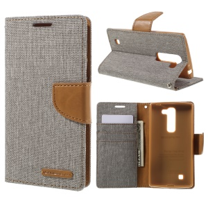 MERCURY GOOSPERY Canvas Leather Stand Cover for LG Magna H502F H500F / G4c H525N - Grey