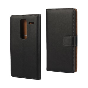 Genuine Split Leather Wallet Stand Case for LG Zero / Class F620 H740 - Black
