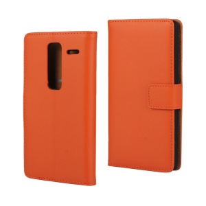 Genuine Split Leather Cover with Stand for LG Zero / Class F620 H740 - Orange