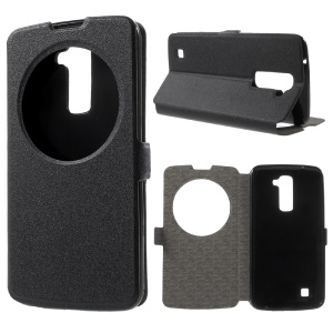 Sand-like Texture Hollow Window View Leather Case for LG K10 - Black