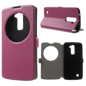 Sand-like Texture Hollow Window Leather Stand Cover for LG K10 - Rose