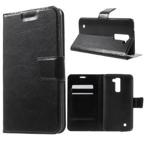 Crazy Horse Leather Stand Case for LG K10 - Black