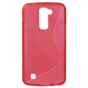 S-curve Line Soft TPU Skin Case for LG K10 - Red