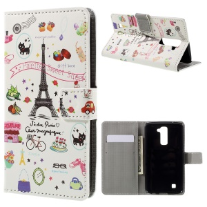 Stand Leather Wallet Flip Cover for LG K10 - Palettes Sweet Street