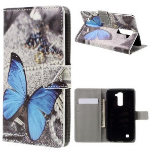Stand Leather Card Slot Flip Case for LG K10 - Blue Butterfly