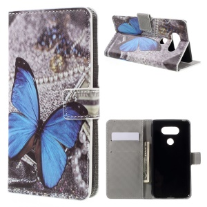 Leather Wallet Stand Phone Case for LG G5 - Blue Butterfly