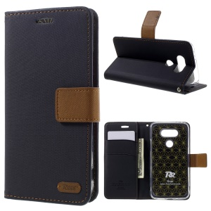 ROAR KOREA Diary Wallet Stand Twill Leather Cover for LG G5 - Black