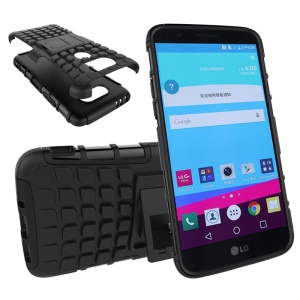 TPU PC Hybrid Protective Case for LG G5 with Kickstand - Black