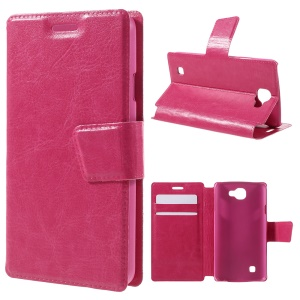 Crazy Horse Pattern Leather Card Holder Stand Cover for LG K4 - Rose