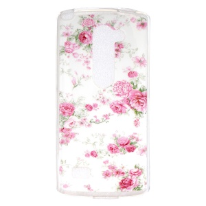 IMD Soft TPU Gel Back Case Cover for LG Leon 4G LTE H340N - Red Flowers