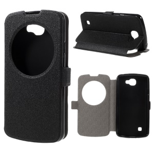 Hollow View Window Leather Stand Case for LG K4 - Black