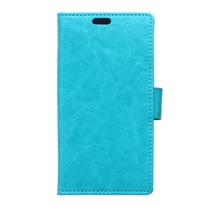 Crazy Horse Leather Card Holder Stand Case for LG K4 - Blue