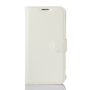 Lychee Skin Wallet Leather Stand Cover for LG K4 - White