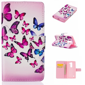 Embossed Leather Wallet Case for LG Spirit H440Y H422 H440N H420 - Beautiful Butterflies