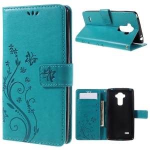 Imprint Floral Butterfly Leather Stand Card Slot Cover for LG G Stylo LS770 - Blue