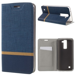 Cross Texture Protective Leather Phone Cover for LG K8 Built-in Steel Sheet - Dark Blue
