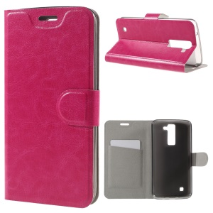 Crazy Horse Leather Card Slot Phone Case for LG K8 - Rose