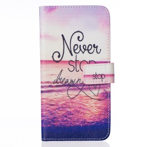 Leather Stand Case with Card Slots for LG G5 - Quote Never Stop Dreaming