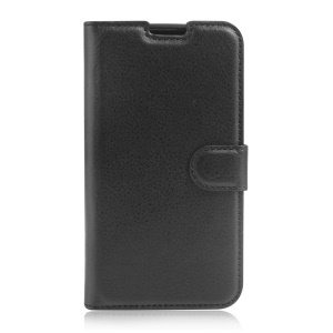 Litchi Skin Wallet Leather Stand Case for LG K8 - Black