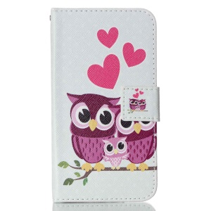 For LG K10 Patterned Leather Wallet Stand Cover - Sweet Owl Family