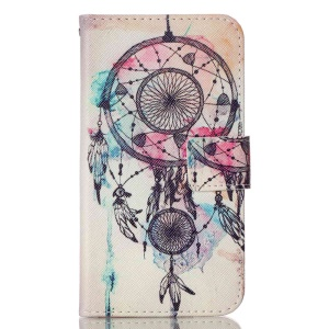 For LG K10 Patterned PU Leather Case Wallet Cover - Watercolor Dreamcatcher