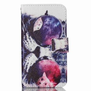 For LG K10 Patterned Leather Flip Case Cover - Cat Wearing Sunglasses