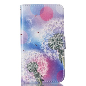 For LG K10 Patterned Leather Case Card Holder - Dandelions and Circles