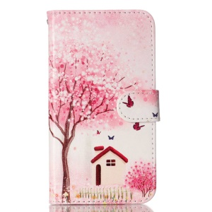 For LG K10 Patterned Wallet Leather Cover - Flower Tree Butterfly House