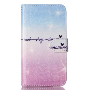 For LG K10 Patterned Leather Case with Wallet Slots - Never Stop Dreaming
