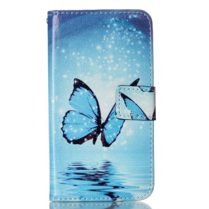 Patterned PU Leather Case Cover for LG K10 - Blue Butterfly Shiny Stars