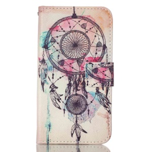 Diary Style Leather Stand Wallet Cover for LG K7 - Dream Catcher Feather