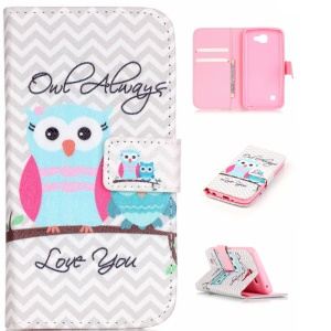 Patterned Leather Wallet Case for LG K4 - Two Lovely Owls
