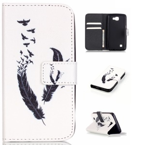 Patterned Leather Phone Cover for LG K4 - Quill Pen