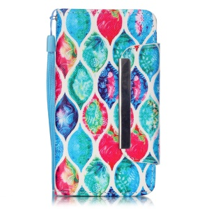 Magnetic Leather Wallet Stand Case for LG Leon H320 / Leon 4G LTE H340N with Wrist Strap - Colorful Leaves