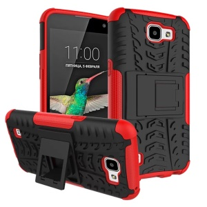 Snap-on Anti-slip PC + TPU Hybrid Case Cover with Kickstand for LG K4 - Red