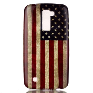 Soft TPU Cover Case for LG K10 - Retro American Flag