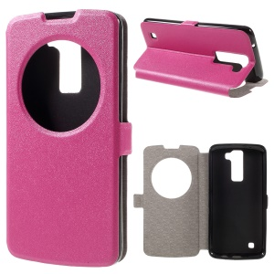 Sand-like Hollow Window Leather Stand Shell for LG K8 - Rose