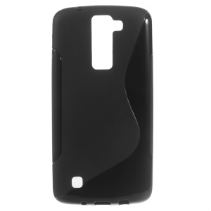 S-shaped Frosted TPU Back Case for LG K8 - Black