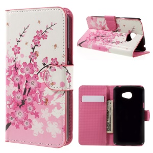 Water Transfer Printing Leather Wallet Case Stand for LG K5 - Plum Blossom
