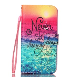 Patterned Leather Magnetic Case for LG K8 - Quote Never Stop Dreaming