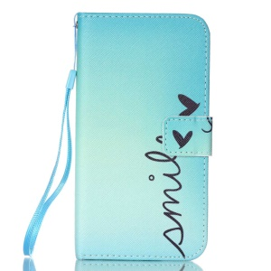 Patterned Leather Magnetic Case for LG K8 - Smile and Heart