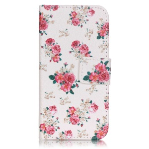 For LG K4 Pattern Printing Wallet Stand Leather Case - Pretty Flowers