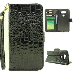 Crocodile Texture Leather Wallet Stand Case for LG G5/G5 SE with Hand Strap - Black