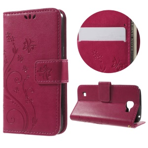 Floral Butterfly Magnetic Leather Wallet Cover for LG K4 - Rose
